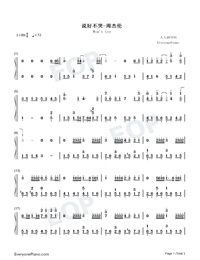 Wont Cry-Jay Chou Numbered Musical Notation Preview 1
