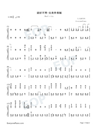 Wont Cry-Accompaniment Numbered Musical Notation Preview 1
