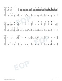 Wont Cry-Accompaniment Numbered Musical Notation Preview 3