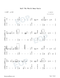 Half The World Away-Oasis-Numbered-Musical-Notation-Preview-1