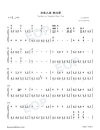 Naraku no Sengoku Kaze Tan-Inuyasha Theme-Numbered-Musical-Notation-Preview-1