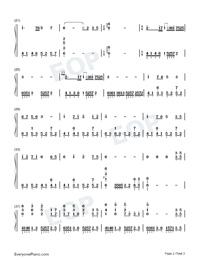 Naraku no Sengoku Kaze Tan-Inuyasha Theme-Numbered-Musical-Notation-Preview-2