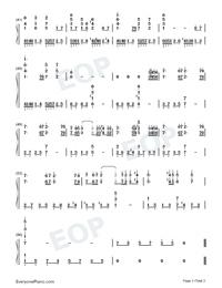 Naraku no Sengoku Kaze Tan-Inuyasha Theme-Numbered-Musical-Notation-Preview-3