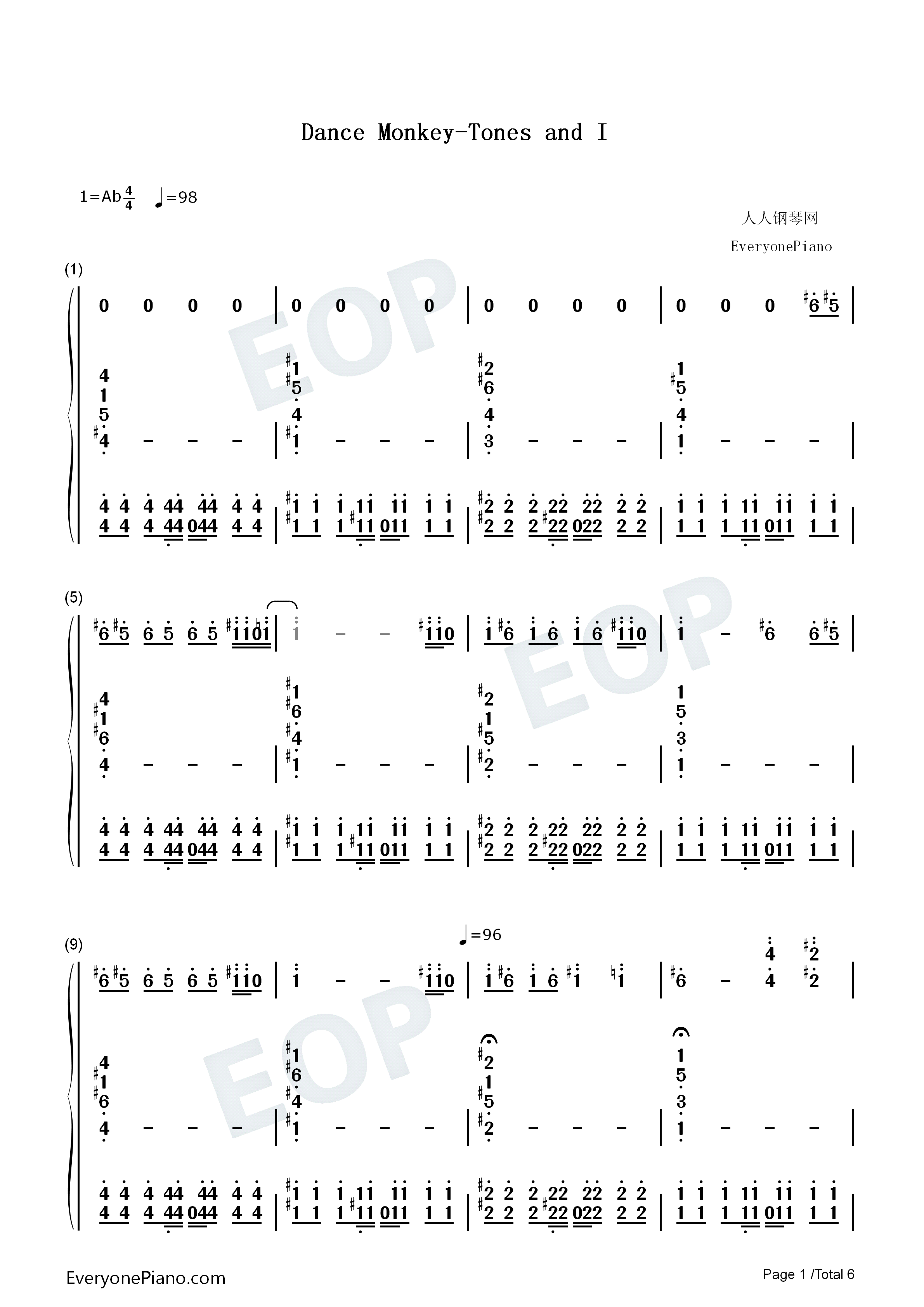 Dance Monkey Tones And I Numbered Musical Notation Preview