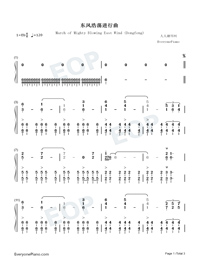 March of Mighty Blowing East Wind Dongfeng-Numbered-Musical-Notation-Preview-1