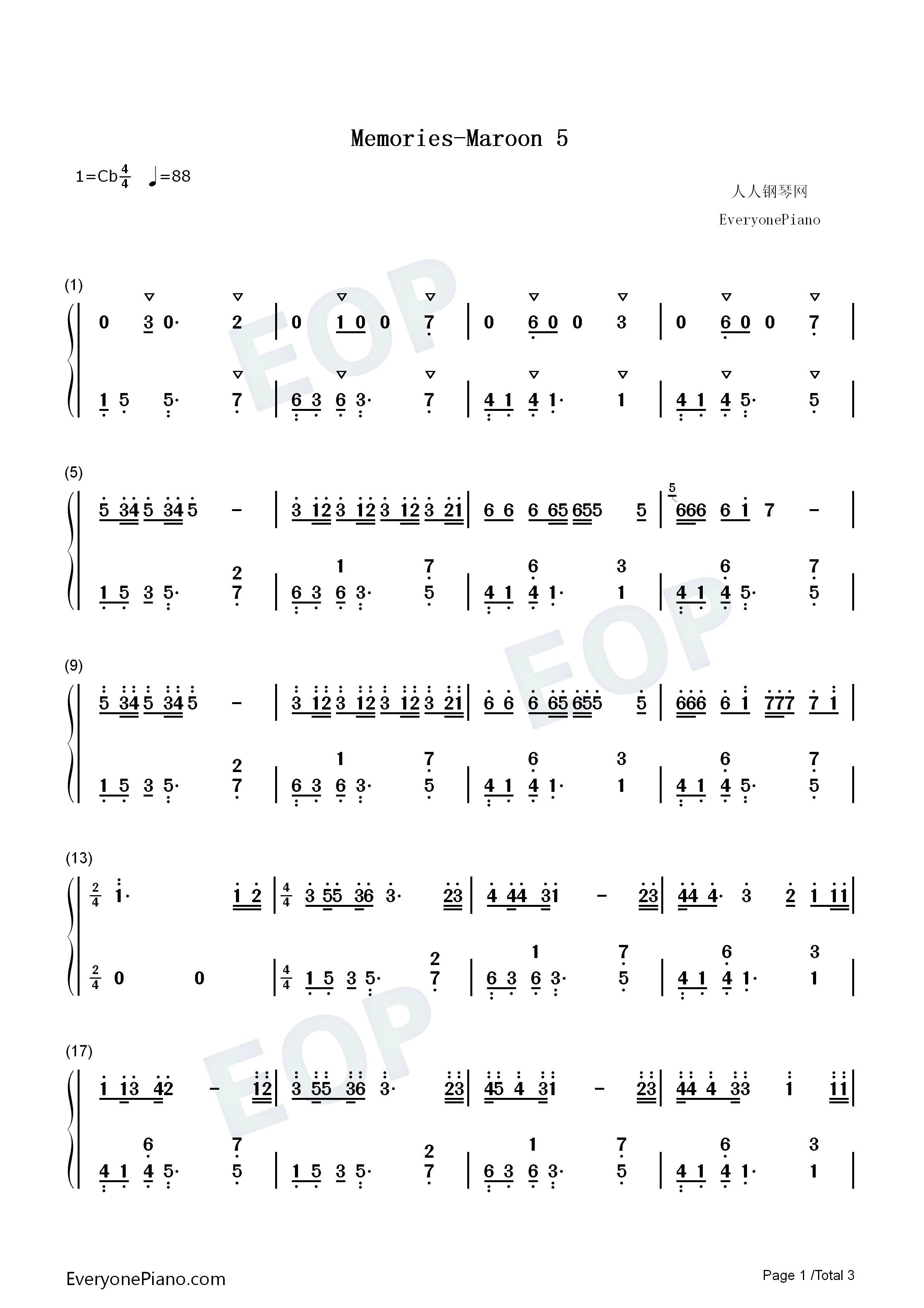 Memories Maroon 5 Numbered Musical Notation Preview