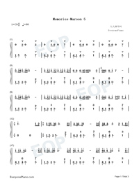 Memories-Maroon 5-Numbered-Musical-Notation-Preview-1