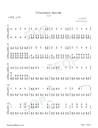 Illusionary Daytime-Perfect Piano Version Numbered Musical Notation Preview 1