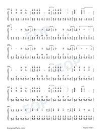 Illusionary Daytime-Perfect Piano Version Numbered Musical Notation Preview 2