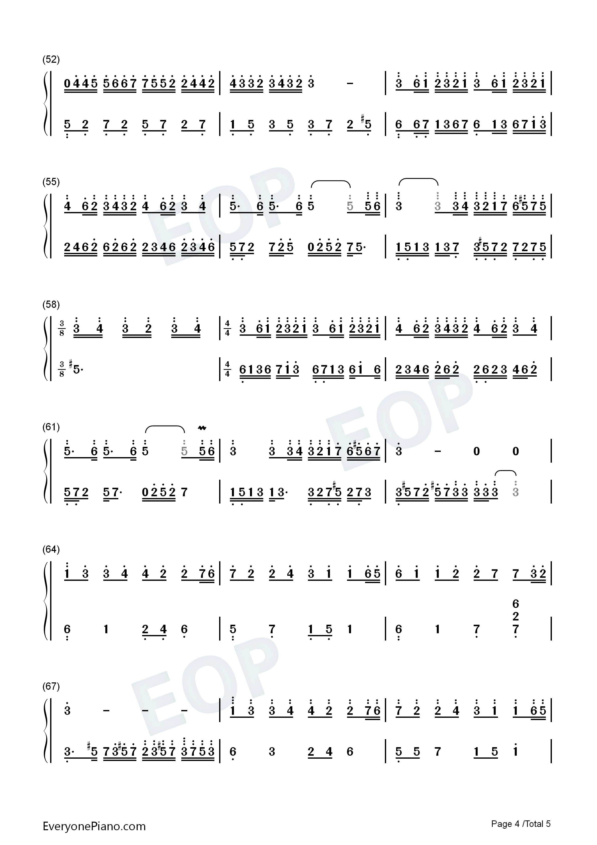Mariage D'amoure Numbered Musical Notation Preview 4