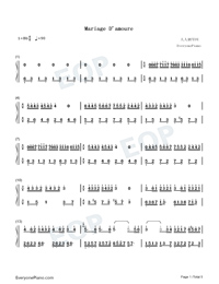 Mariage D'amoure Numbered Musical Notation Preview 1