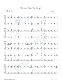 The Last Time-The Script Numbered Musical Notation Preview 1