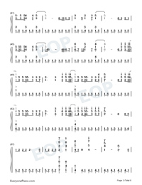 The Last Time-The Script Numbered Musical Notation Preview 3