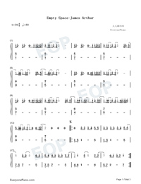 Empty Space-James Arthur-Numbered-Musical-Notation-Preview-1