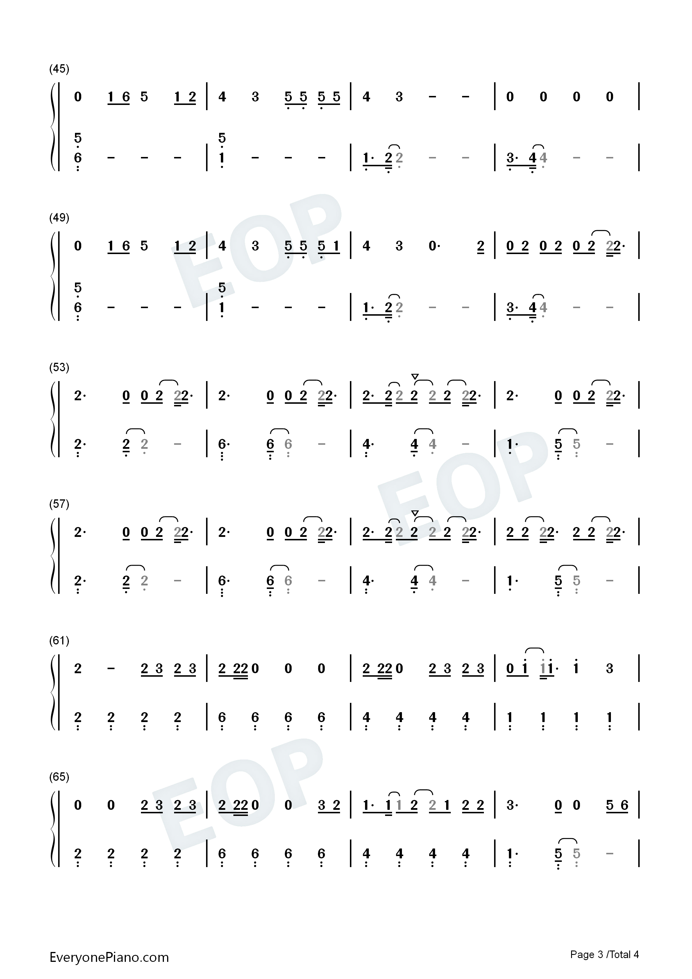Dont Start Now-Dua Lipa Numbered Musical Notation Preview 3