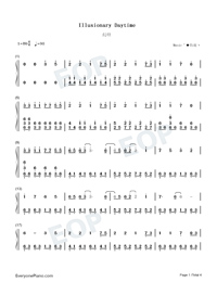 Illusionary Daytime-Nice Version Numbered Musical Notation Preview 1