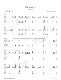 All About You-Hotel del Luna OST Numbered Musical Notation Preview 1
