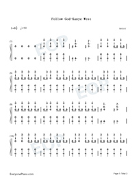 Follow God-Kanye West-Numbered-Musical-Notation-Preview-1