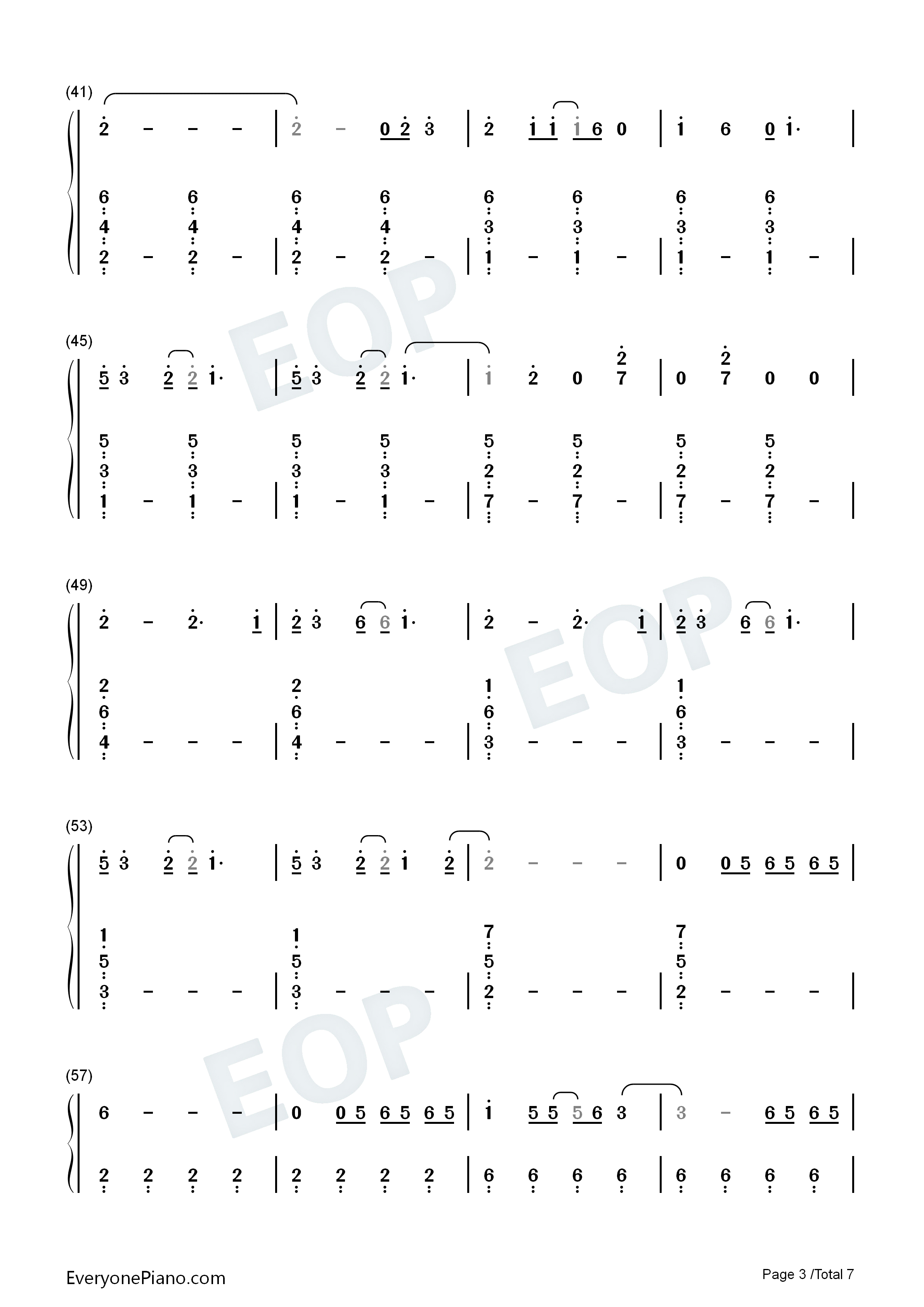 Blinding Lights-The Weeknd Numbered Musical Notation Preview 3