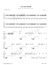 Medley of Canon and Pop Songs-Numbered-Musical-Notation-Preview-1