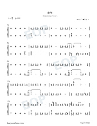 Remaining Years-C Major Version-Numbered-Musical-Notation-Preview-1