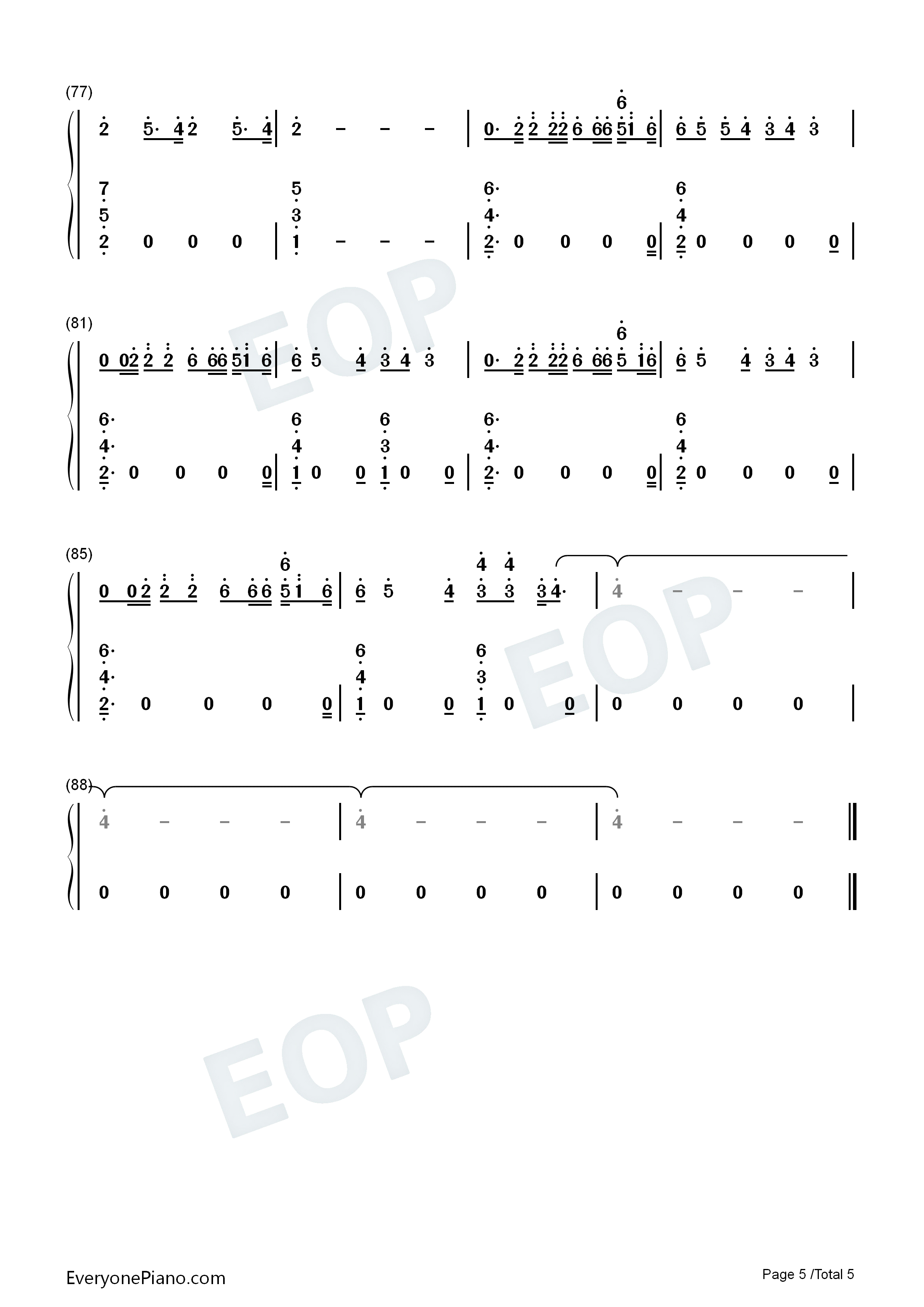 Future Nostalgia-Dua Lipa Numbered Musical Notation Preview 5