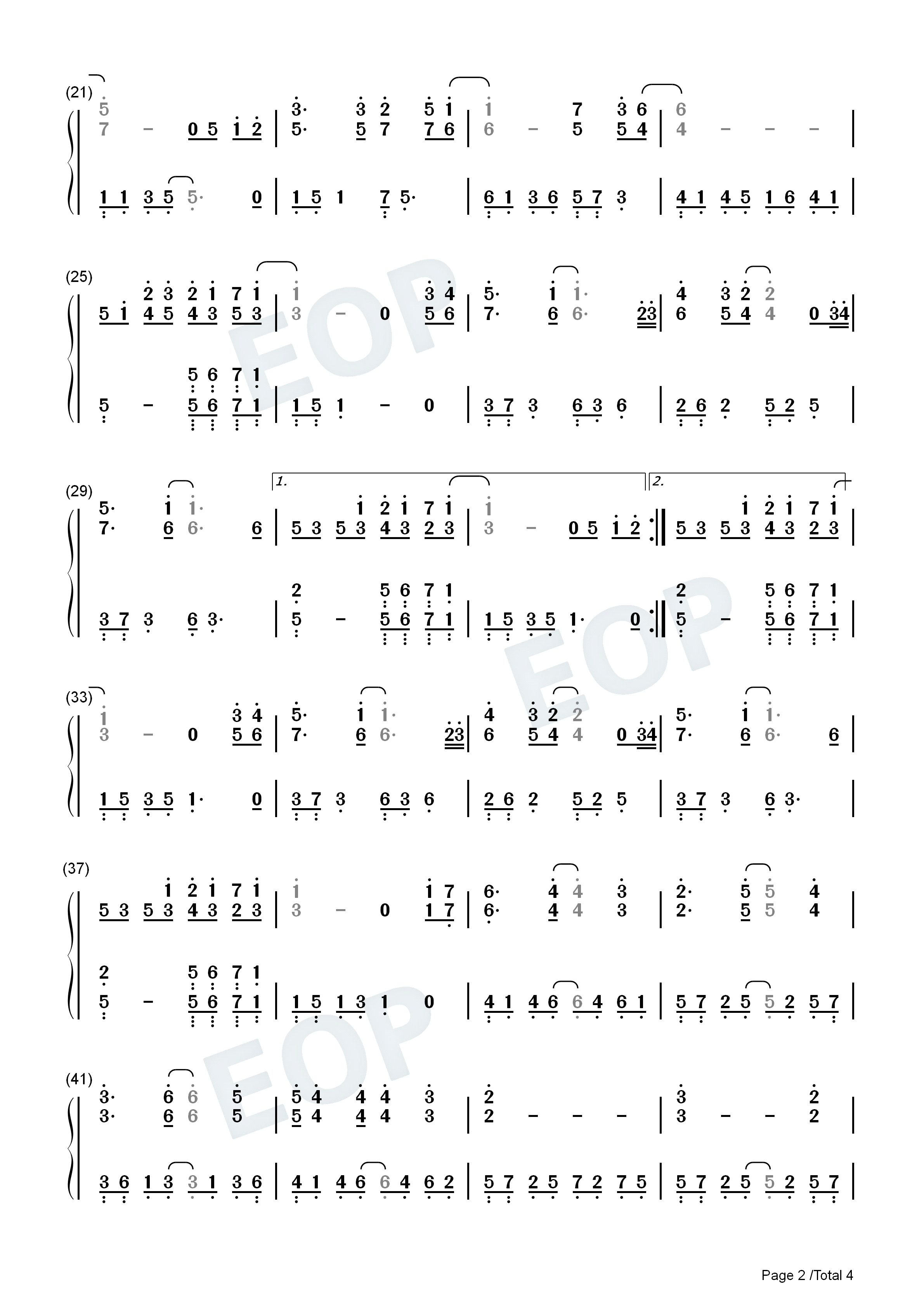 Annies Wonderland-Perfect Version Numbered Musical Notation Preview 2