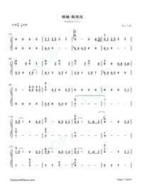 Fallen City-Eason Chan-Numbered-Musical-Notation-Preview-1