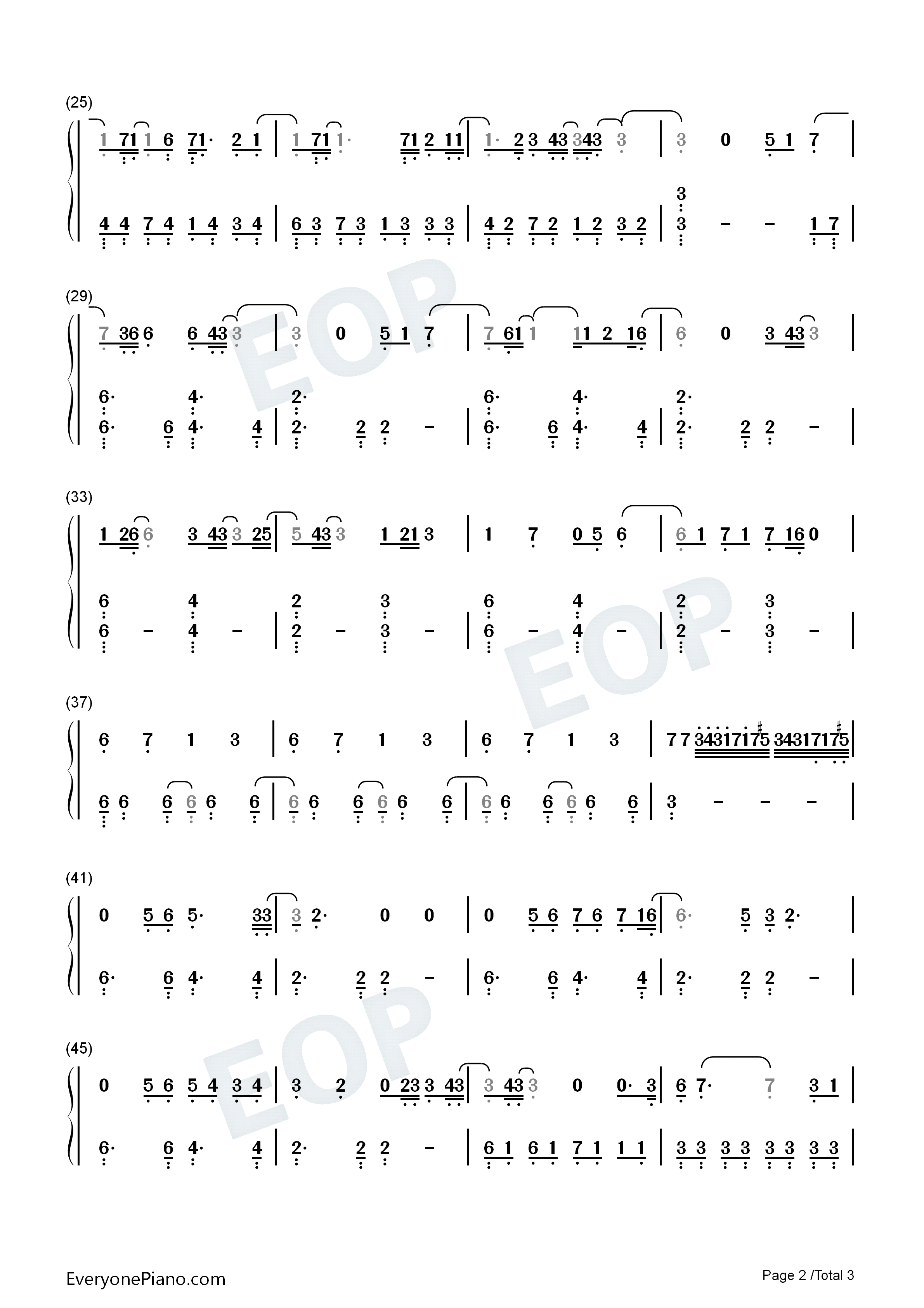 No Time to Die-Billie Eilish Numbered Musical Notation Preview 2