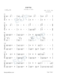 Everyday is Safe Numbered Musical Notation Preview 1