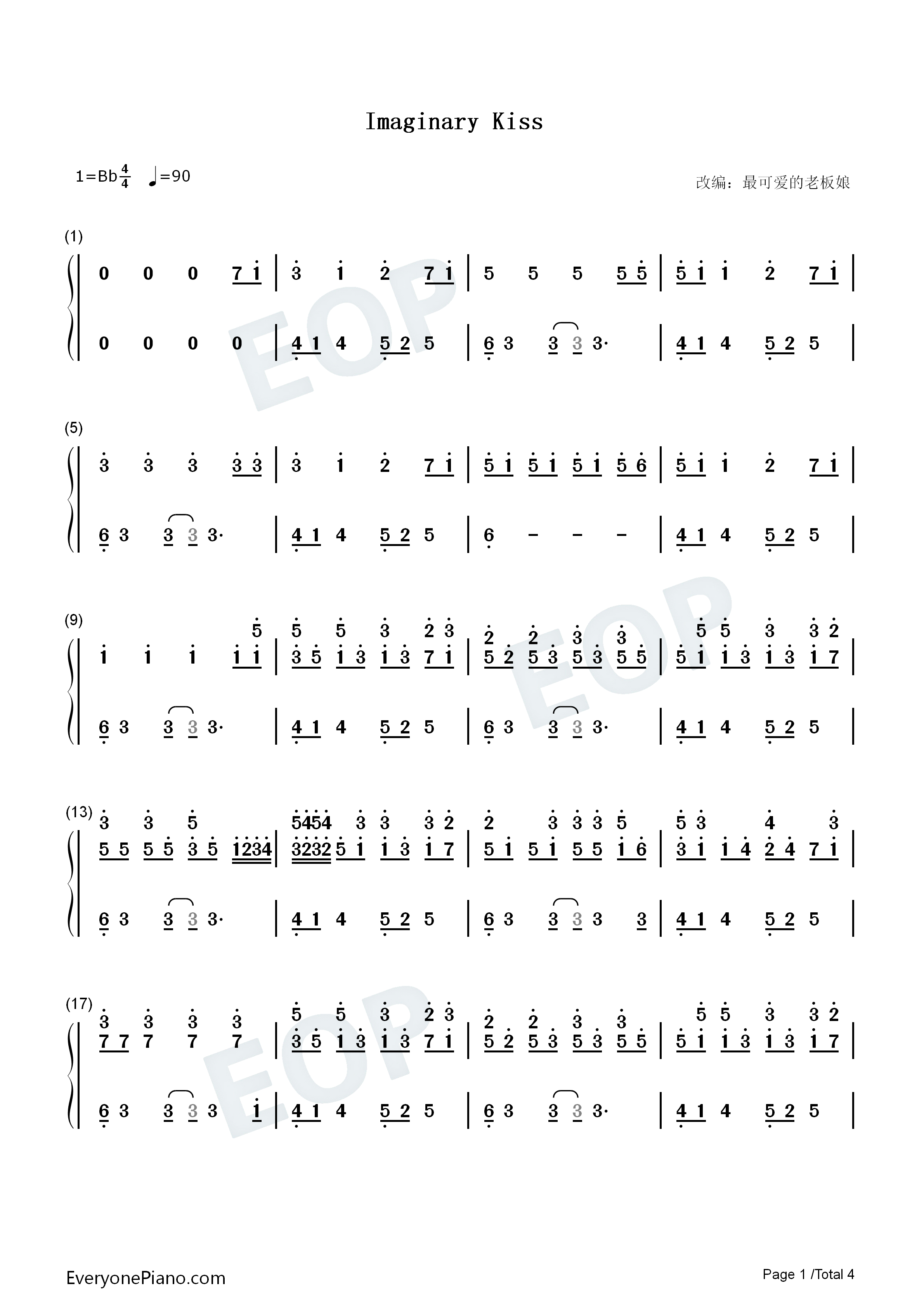 Imaginary Kiss-Shirfine Numbered Musical Notation Preview 1