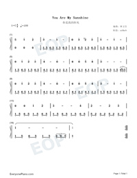 You Are My Sunshine-Lin Wenxin Version-Numbered-Musical-Notation-Preview-1