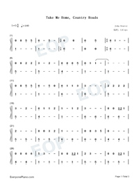 Take Me Home Country Roads-LACops-Numbered-Musical-Notation-Preview-1