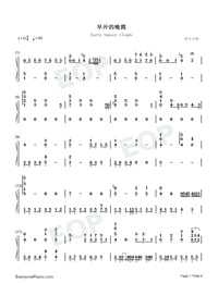 Early Sunset Clouds-Numbered-Musical-Notation-Preview-1
