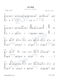 Land of Ice and Snow-Skate Into Love Theme-Numbered-Musical-Notation-Preview-1