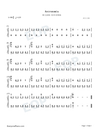 Astronomia-Easy Version-Coffin Dance Meme Song-Numbered-Musical-Notation-Preview-1