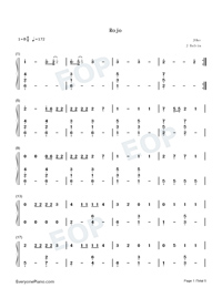 Rojo-J Balvin Numbered Musical Notation Preview 1