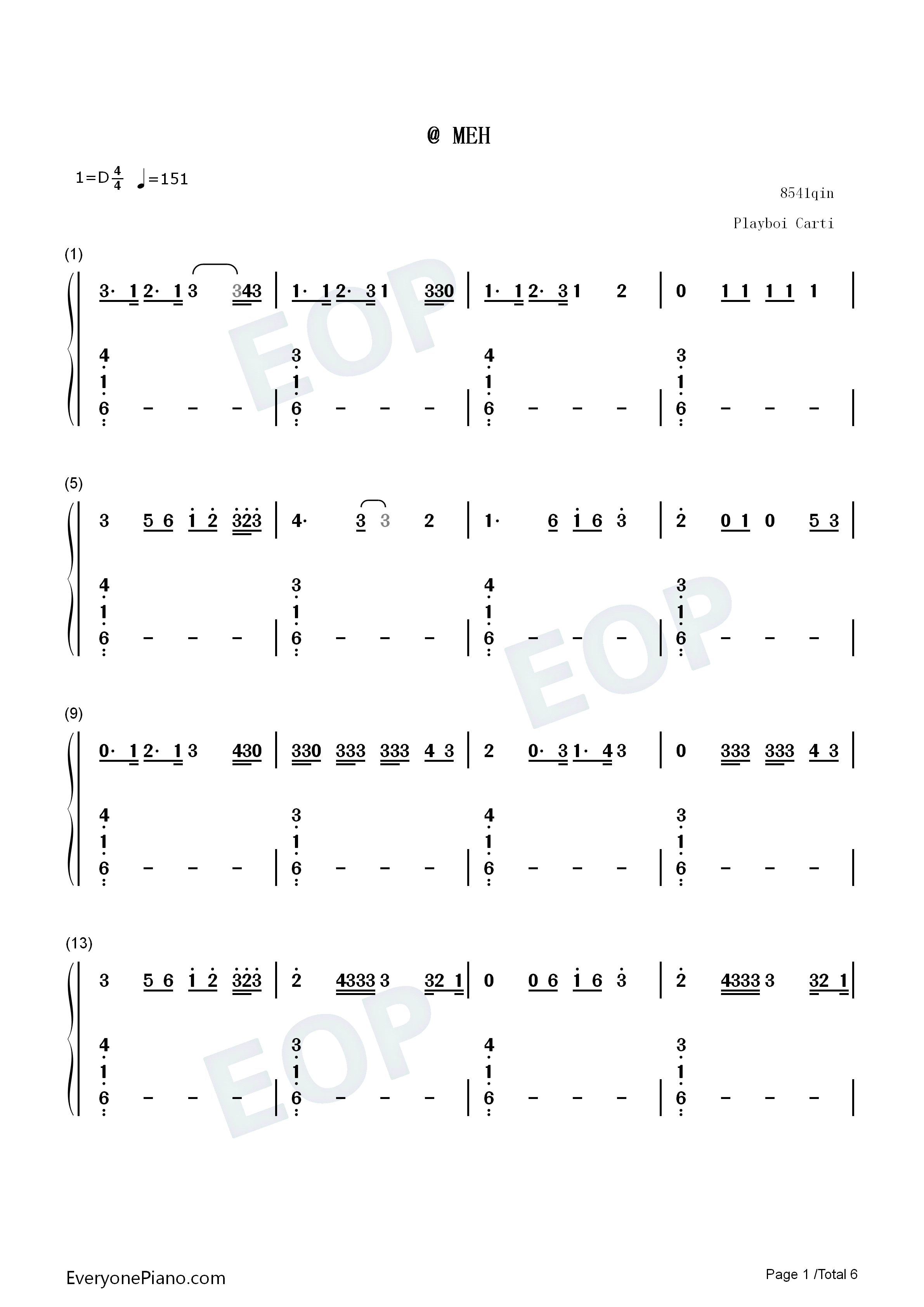 MEH-Playboi Carti Numbered Musical Notation Preview 1