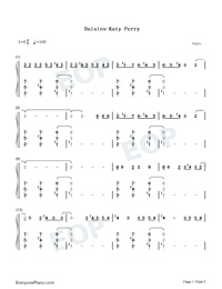 Daisies-Katy Perry Numbered Musical Notation Preview 1