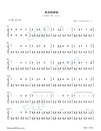 Goodbye Mr Loser-Numbered-Musical-Notation-Preview-1