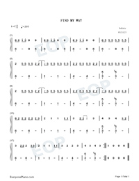 Find My Way-DaBaby-Numbered-Musical-Notation-Preview-1