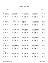 Nobody but You-Blake Shelton ft Gwen Stefani-Numbered-Musical-Notation-Preview-1
