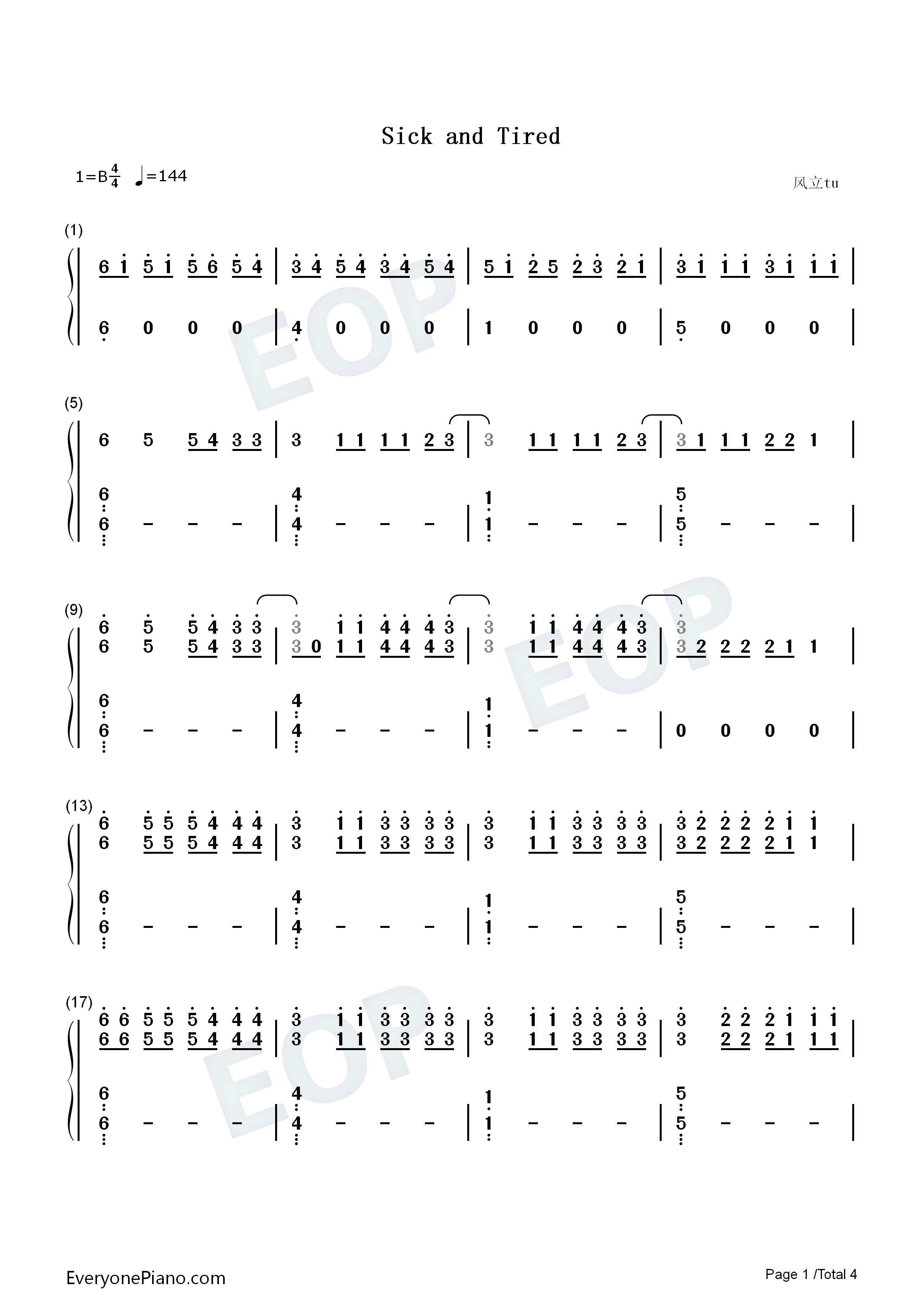 Sick and Tired Numbered Musical Notation Preview 1