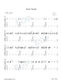 Black Parade-Beyoncé Numbered Musical Notation Preview 1