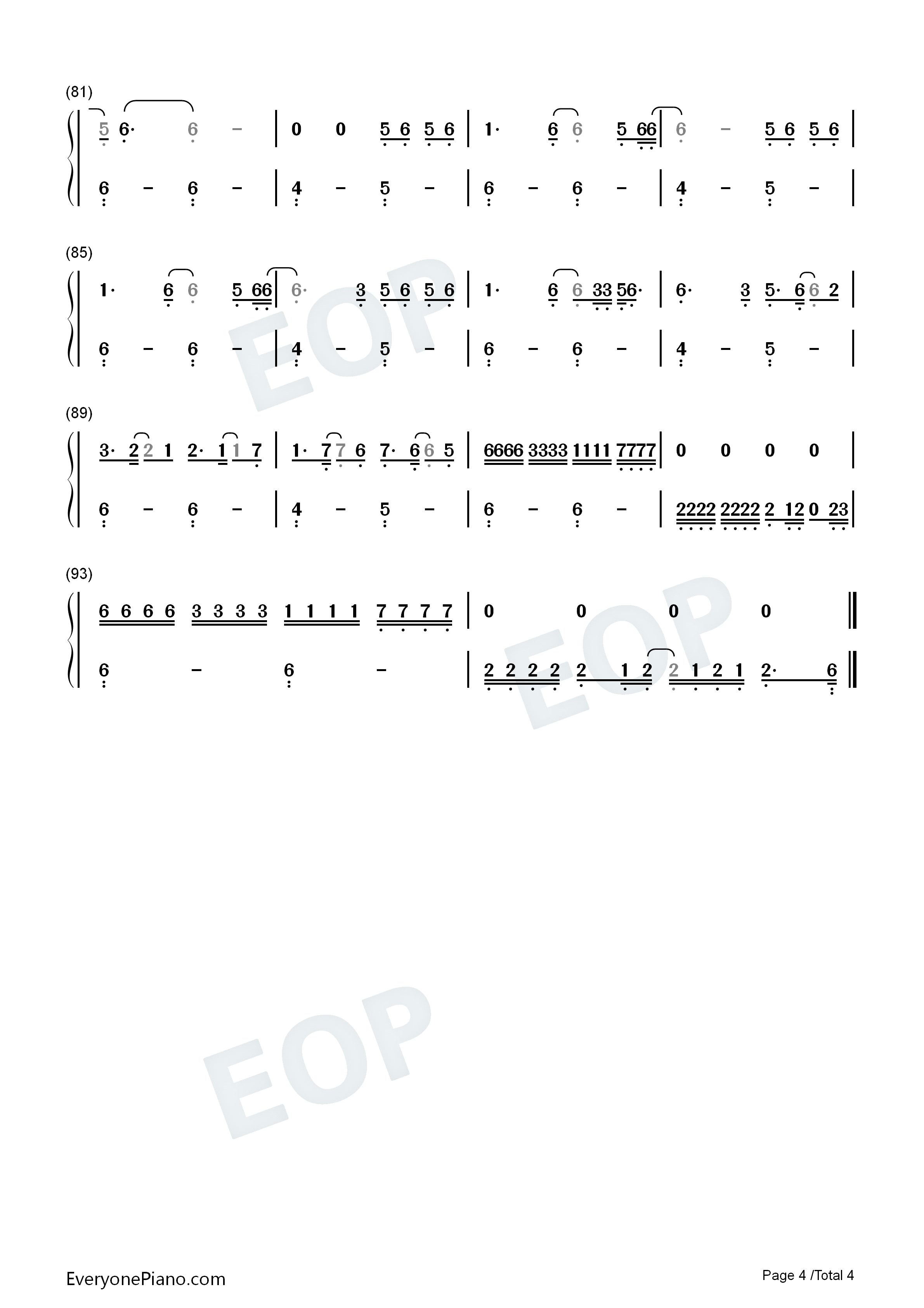 Shelter-Finneas Numbered Musical Notation Preview 4