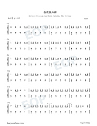 Apricot Blossom And Rain Outside The String-Numbered-Musical-Notation-Preview-1