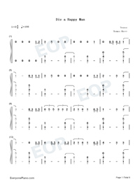 Die a Happy Man-Thomas Rhett Numbered Musical Notation Preview 1