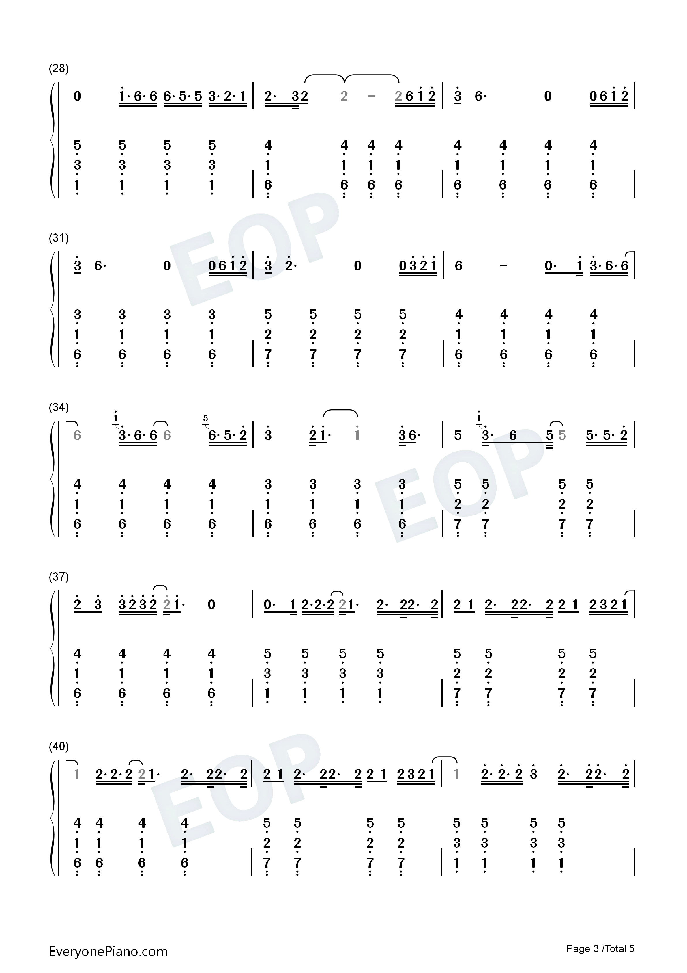 Cardigan-Taylor Swift Numbered Musical Notation Preview 3