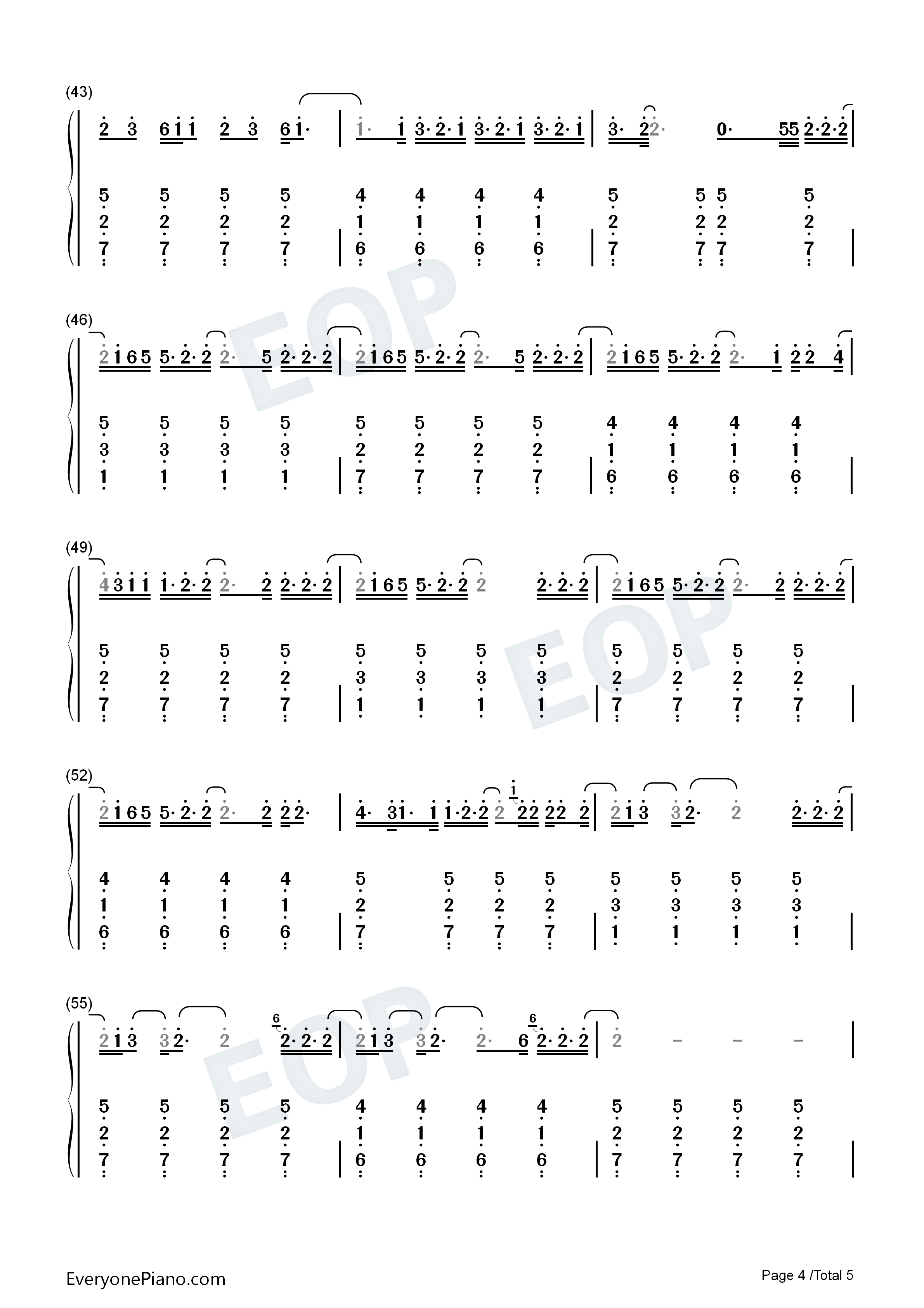 Cardigan-Taylor Swift Numbered Musical Notation Preview 4