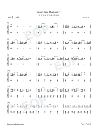 Croatian Rhapsody-Easy Version Numbered Musical Notation Preview 1
